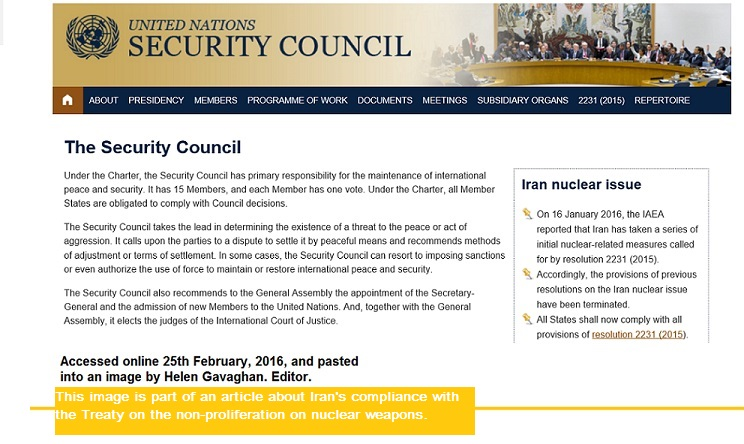 Iran's compliance in January, 2016 with the nuclear non-proliferation treaty (NPT). Image is a partial screen shot of the UNSC webite, and  it was cropped and made into a jpeg by Helen Gavaghan, editor of Science, People & Politics