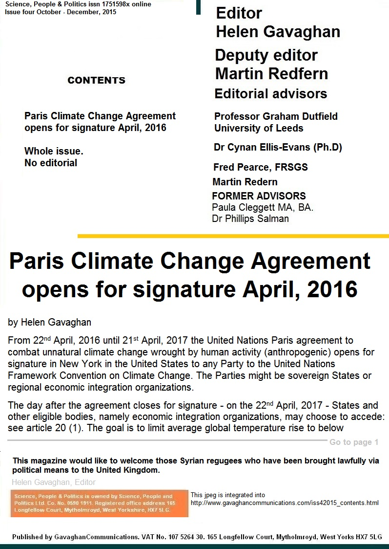 Science, People &  Politics COP21 Issue 4, 2015